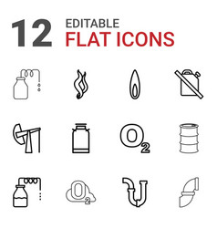 12 gas icons vector image