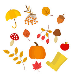 A set on theme autumn for use in clipart vector