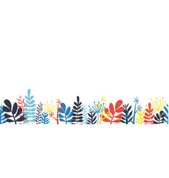 abstract leaves border frame bottom horizontal vector image