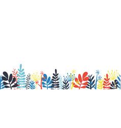 Abstract leaves border frame bottom horizontal vector