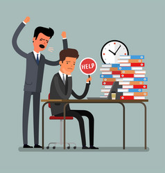 angry businessman shouting at his workers vector image