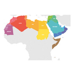 Arab world states political map with colorfully vector