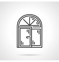 Arched window black line icon vector image