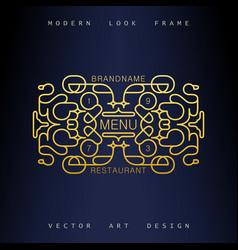 art-deco frame in mono line style vector image