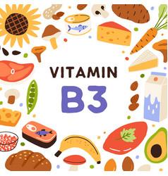 B3 health card with vitamin-rich natural food vector