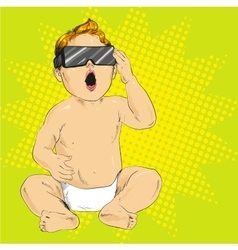 Baby in 3d anaglyph glasses vector