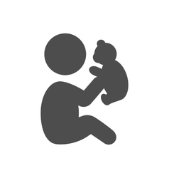 Baby plays with teddy bear pictograph flat icon vector