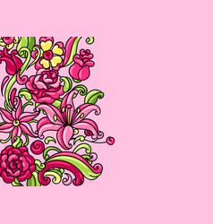background with roses and lilies vector image
