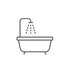 bath and shower line outline icon vector image