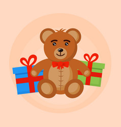 bear toy and gift boxes vector image