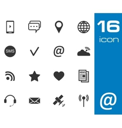 Black Communication icons set on white background vector