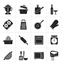 Black cooking tools icons vector image