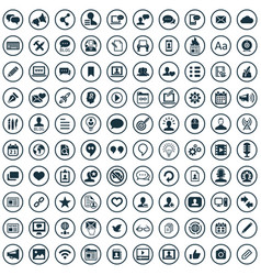 blog 100 icons universal set for web and ui vector image