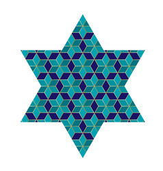 Blue and gold jewish star with pattern vector