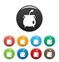 Boiled cauldron icons set color vector