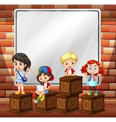 Border design with children and boxes vector image