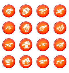 Cannon retro icons set red vector