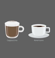 Cappuccino and american coffee cups vector