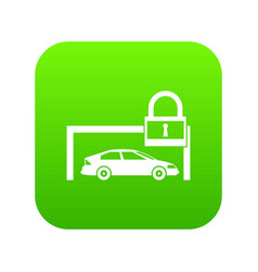 car and padlock icon digital green vector image