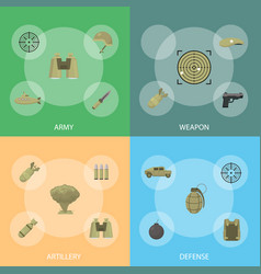 cartoon color army weapons banner set vector image