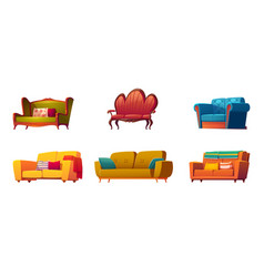 cartoon couches and sofas furniture isolated set vector image