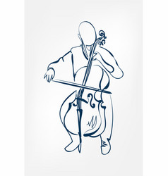 cello man sketch line design outline vector image