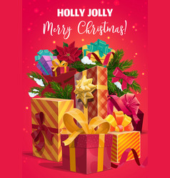 christmas holiday gifts and present boxes vector image