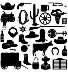 Cowboy pictograms vector