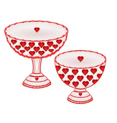 Cups with red hearts decoration ceramic porcelain vector image