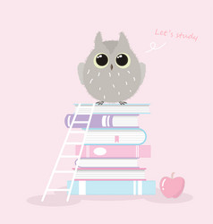cute owl standing on book stack hand drawn style vector image