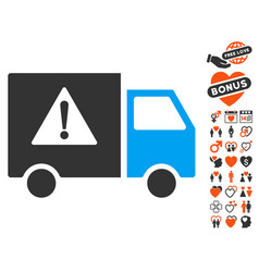 Danger transport truck icon with valentine bonus vector