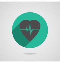 Defibrillator red heart icon isolated on yellow vector image