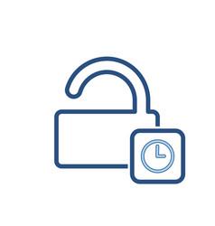 delay lock padlock password secure time icon vector image