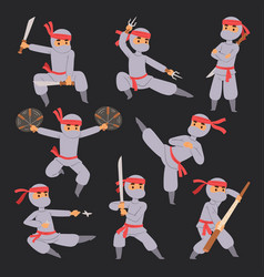 Different poses of ninja fighter in cloth vector