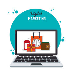 Digital marketing laptop internet business vector