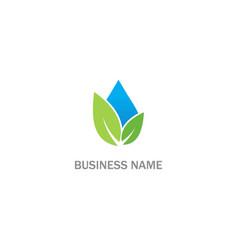 droplet green leaf eco bio logo vector image