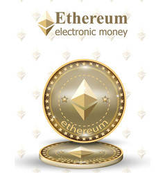 Ethereum coin realistic cryptocurrency vector