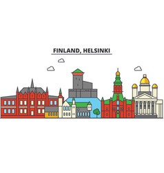 Finland helsinki city skyline architecture vector