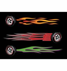 flamed wheels vector image