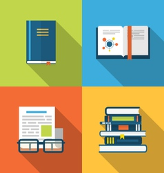 Flat icons design of handbooks books and publish vector image