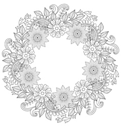Floral doodles wreath in zentangle ornamental vector