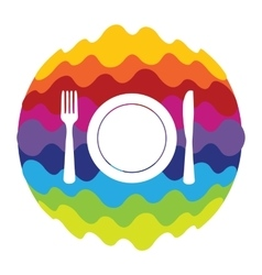 Food and Drink Rainbow Color Icon for Mobile vector image