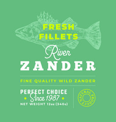 fresh fillets premium quality label abstract vector image