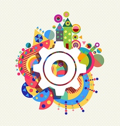 Gear wheel icon concept color shape background vector image