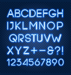 Glowing blue neon lights alphabet and numbers vector