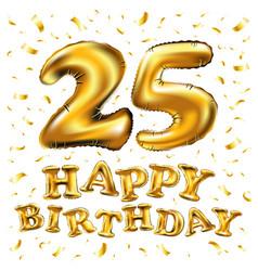golden number 25 twenty five metallic balloon vector image