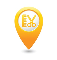 Hairdressing salon icon yellow map pointer vector