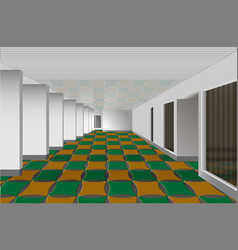 hall with white walls and colored tiles vector image