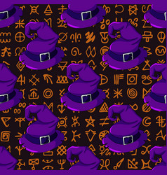 Halloween seamless pattern with witch hats on vector