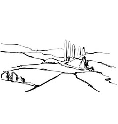 hand drawn landscape field tree and hill vector image